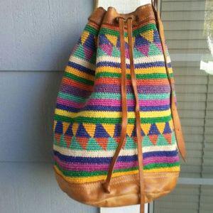 Colorful boho bag with adjustable strap.